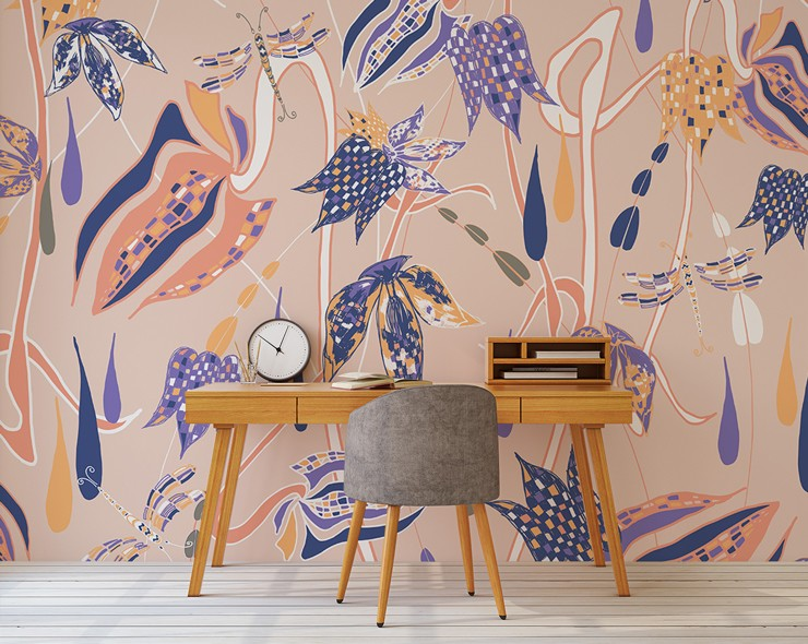 salmon pink, blue and orange floral design wallpaper in trendy office