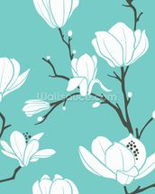 Magnolias on Blue mural wallpaper thumbnail