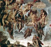 The Righteous Drawn up to Heaven, detail from The Last Judgement, in the Sistine Chapel, c.1508-12 (fresco) wall mural thumbnail