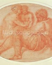 Study of the Holy Family (red chalk on paper) mural wallpaper thumbnail