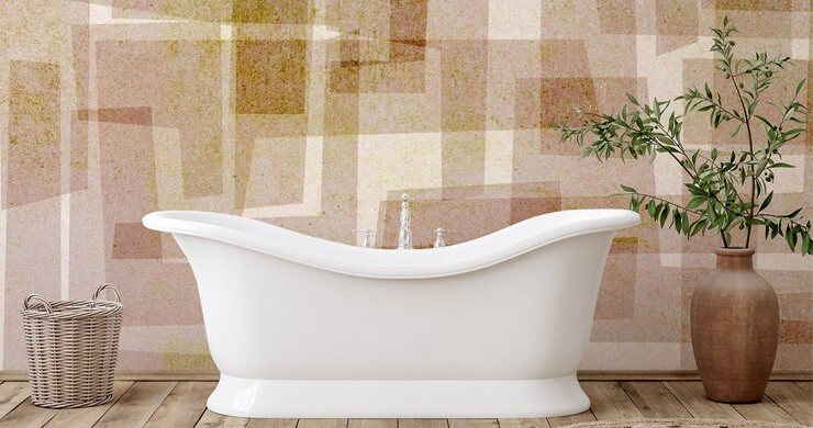 natural beige and brown rectangle pattern wallpaper in bathroom with free standing white tub