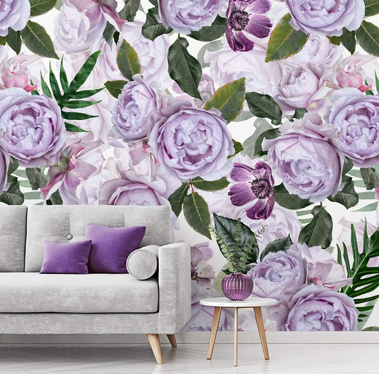 illustrated purple peonies wallpaper in purple and grey living room