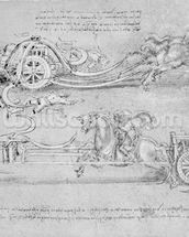Scythed Chariot, c.1483-85 (pen and ink on paper) mural wallpaper thumbnail