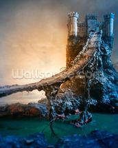 Mysterious Castle and Bridge wall mural thumbnail