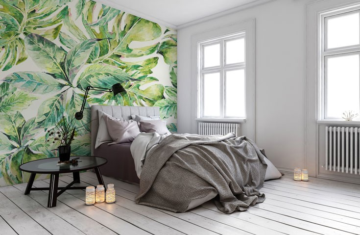 Tropical-leaf-print-wallpaper-in-bedroom