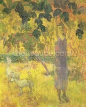 Man Picking Fruit from a Tree, 1897 (oil on canvas) wallpaper mural thumbnail