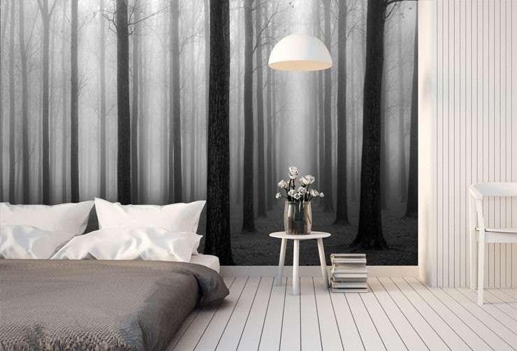 Forest-wallpaper-in-monochrome-bedroom