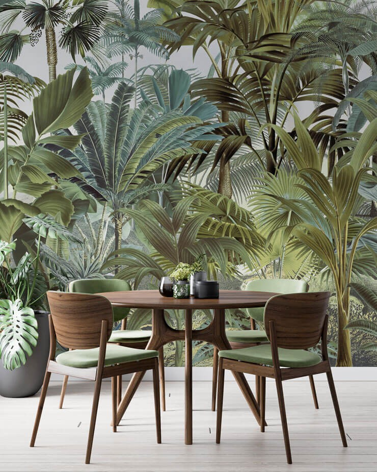 darl green illustrated vintage jungle wallpaper in dining room