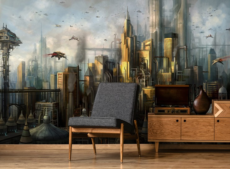 fantasy gaming city wallpaper in cool lounge