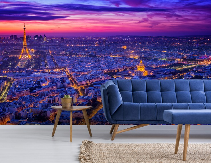 paris at night mural in lounge