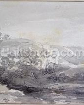 A View in Derbyshire (monochrome watercolour) wall mural thumbnail