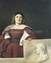 Portrait of a Lady (La Schiavona), c.1510-12 (oil on canvas) wallpaper mural thumbnail