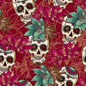 ... Wall Mural | Tattoo - Skull Hearts and Flowers Wallpaper | Wallsauce