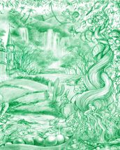 Green Illustration mural wallpaper thumbnail