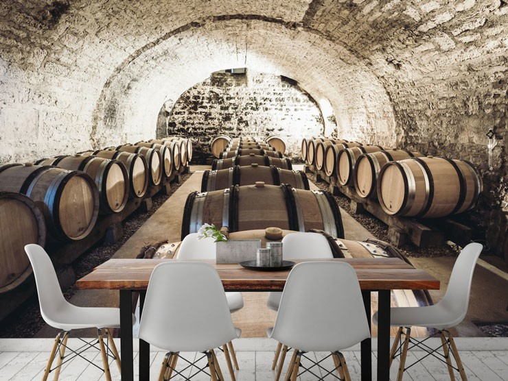 rustic wine cellar mural in dining area