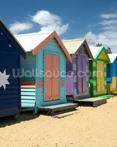 Colourful Beach Huts wall mural thumbnail