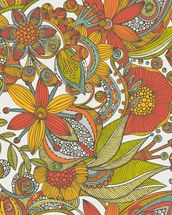 Flowers and doodles orange mural wallpaper thumbnail