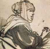 Portrait of Saskia, 1634 (ink and wash on paper) mural wallpaper thumbnail