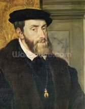 Detail of Seated Portrait of Emperor Charles V (1488-1576) 1548 (oil on canvas) (see 158620) wall mural thumbnail