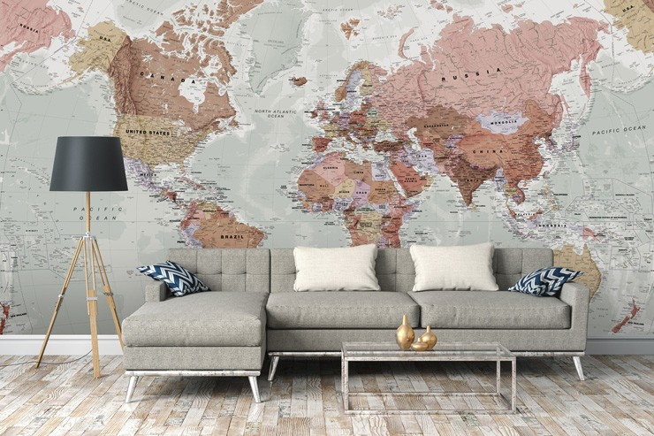 grey world map mural in lounge