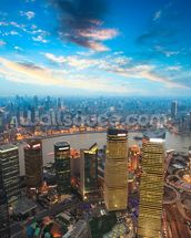 Shanghai at Dusk wallpaper mural thumbnail