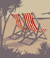 Bournemouth Red Deckchair wallpaper mural thumbnail