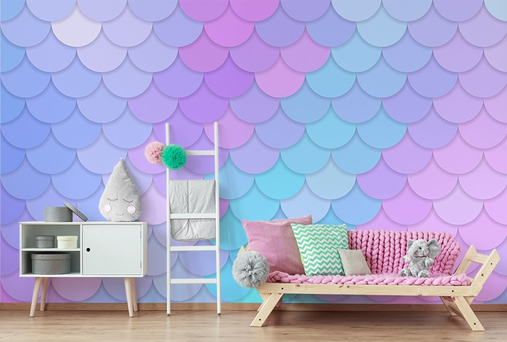 pink, blue, purple mermaid scales in pink girls bedroom