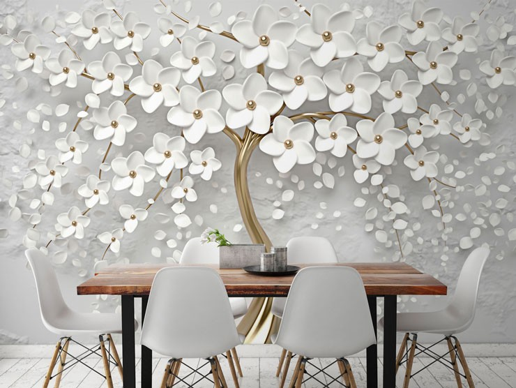 white flowers with gold wall mural in beautiful diningroom