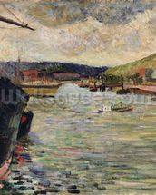 Port at Rouen (oil on canvas) wall mural thumbnail