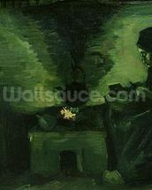 Peasant Woman by the Hearth, c.1885 (oil on canvas laid on board) wallpaper mural thumbnail