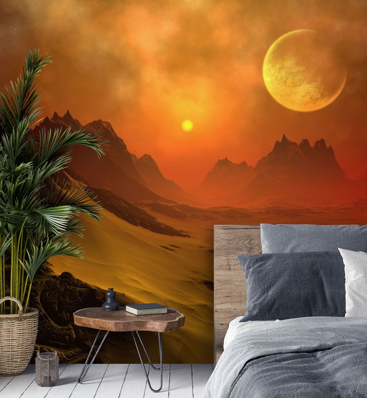 orange sci fi planet in guest bedroom