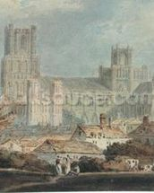 View of Ely Cathedral (pencil & w/c on paper) mural wallpaper thumbnail