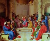 Jesus Among the Doctors, 1862 (oil on canvas) mural wallpaper thumbnail
