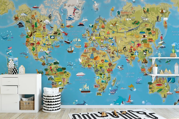 colourful world map with illustrations wallpaper in black and white home classroom