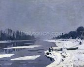 Ice floes on the Seine at Bougival, c.1867-68 (oil on canvas) wallpaper mural thumbnail