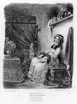 Marguerite in her Room, from Goethes Faust, (illustration), (b/w photo of lithograph) wallpaper mural thumbnail
