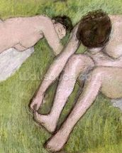 Two Bathers on the Grass, c.1886-90 (pastel on paper) mural wallpaper thumbnail