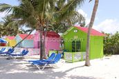 Bahamas Beach Huts mural wallpaper thumbnail