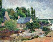 Washerwomen at Pont-Aven, 1886 (oil on canvas) wallpaper mural thumbnail