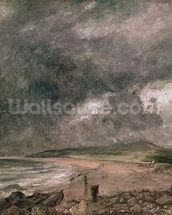 Weymouth Bay with Approaching Storm (oil on canvas) wall mural thumbnail