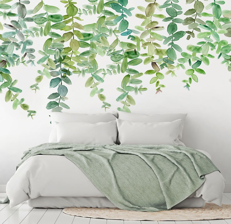 green leaf painted wallpaper in minimalist bedroom