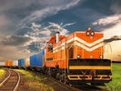 Orange Freight Train wall mural thumbnail