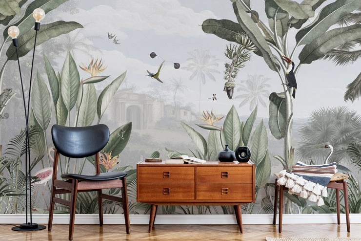 illustrated jungle and exotic birds wallpaper in mid-century styled trendy lounge