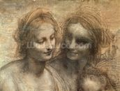 Detail of the Heads of the Virgin and St. Anne, from The Virgin and Child with SS. Anne and John the Baptist, c.1499 (charcoal and white chalk on paper, mounted on canvas) wall mural thumbnail