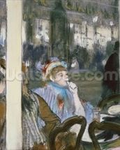 Women on a Cafe Terrace, 1877 (pastel on monotype) wall mural thumbnail