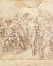 Study of figures for a narrative scene (charcoal on paper) (recto) mural wallpaper thumbnail