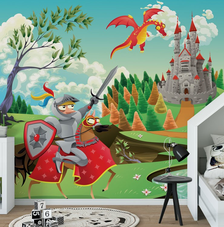 cartoon knight, dragon and castle wallpaper in cute child's bedroom