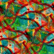Picasso - Green Red Cubism wall mural thumbnail