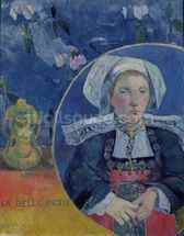 The Beautiful Angel (Madame Angele Satre, the Innkeeper at Pont-Aven), 1889 (oil on canvas) wallpaper mural thumbnail