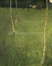 Farmhouse with Birch Trees, 1900 (oil on canvas) wallpaper mural thumbnail